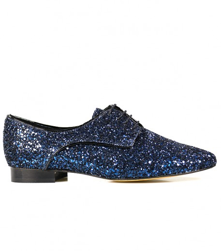 9d1b3f4a001b0 Womens lace-up shoes in navy blue sequined leather • Souleiado - Fashion  woman and Provençal lifestyle