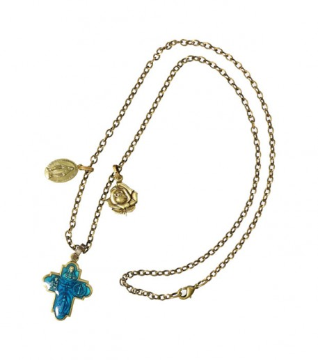 Good luck charm necklace n°2 - cross/rose/medal • Souleiado