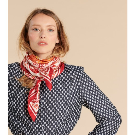 MOURIES silk twill scarf block print orange and red 90 x 90 cm