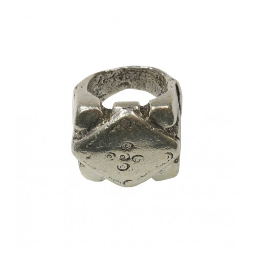 """""""Pearl"""" silver finish gypset ring"""