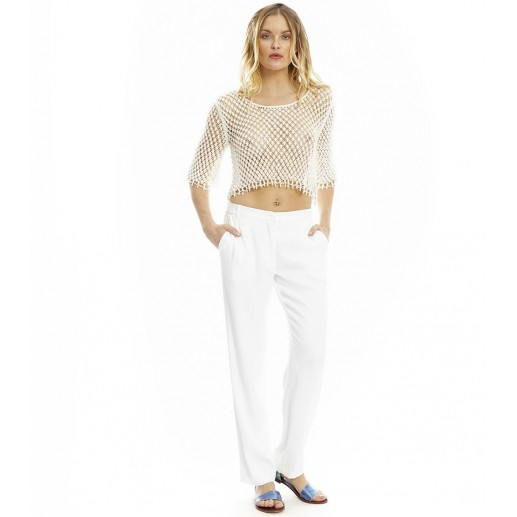 Gabin white loose-fitting trousers