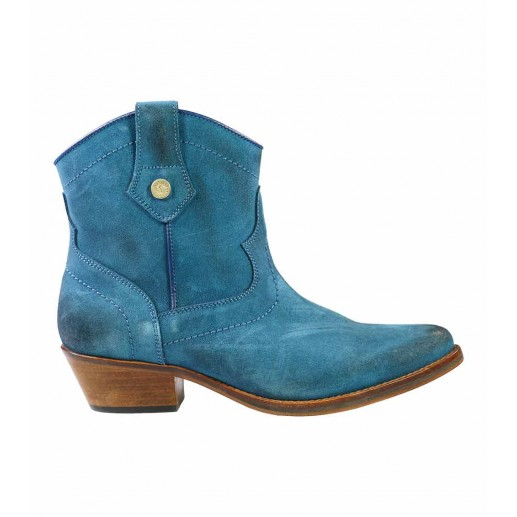 Peacock blue calfskin leather Ankle Boots