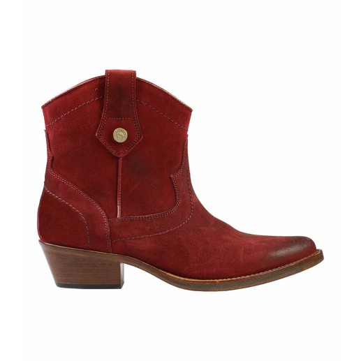 Burgundy calfskin leather Ankle Boots