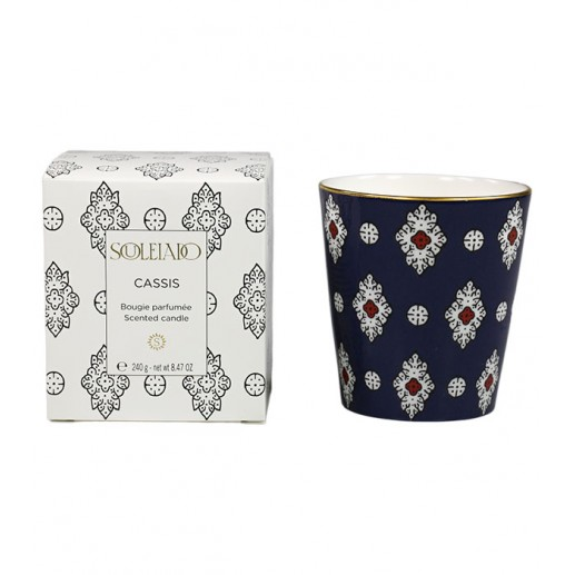 "Black currant scented candle, navy ""Merveille"" design"