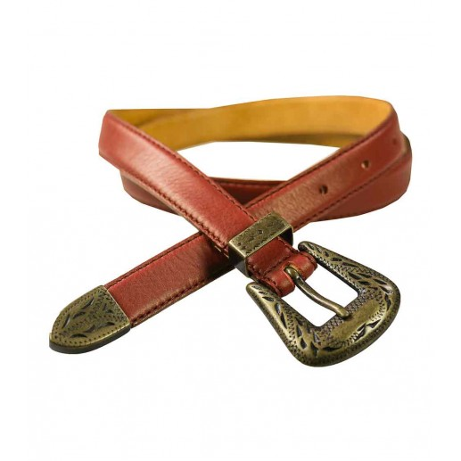 narrow brown leather belt with buckle detail