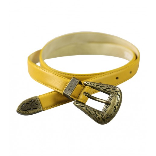 narrow mustard yellow leather belt with buckle detail