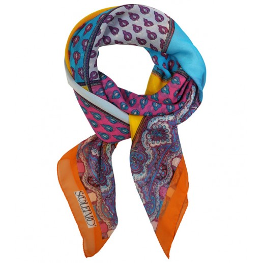 """Melle Burles"" multicoloured silk crepe shawl with orange border 140x140 cm"