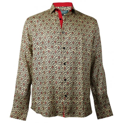 "Men's slim fit beige/black/red ""Ikat"" shirt"