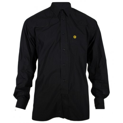 "Men's regular fit black poplin ""Texane"" shirt"