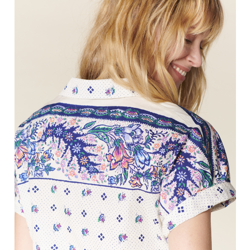 """BAUME """"Archi"""" blouse ecru and ink"""