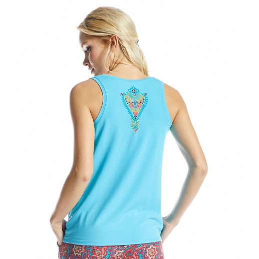 Alicia blue top with Barocco embroidery