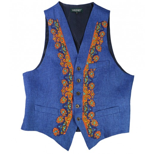 Embroidered linen Cadaques waistcoat