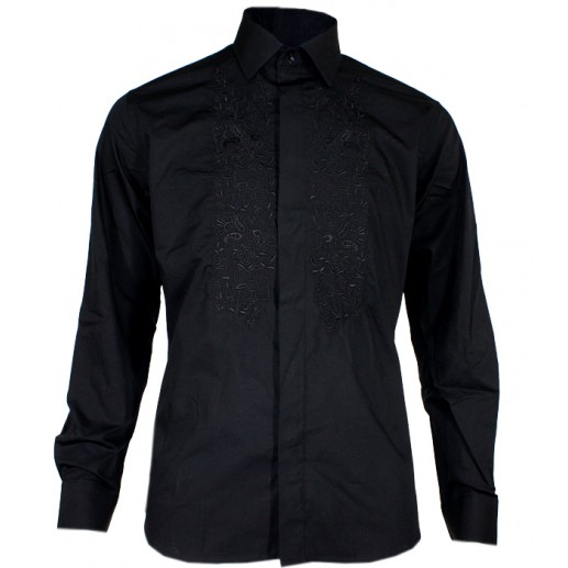 "Men's embroidered black ""Guirlande"" shirt"