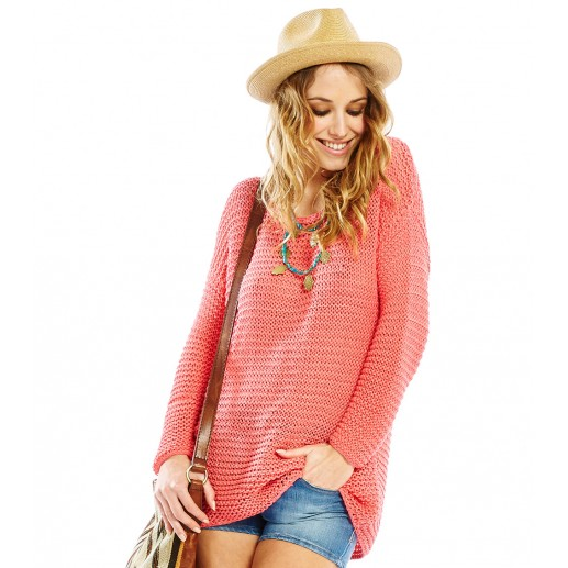 Paulo coral loose fit open stitch sweater