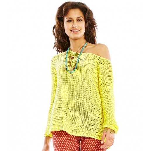 Paulo yellow loose fit open stitch sweater