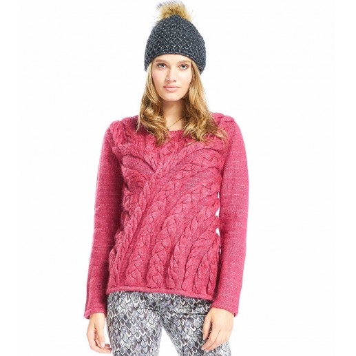 Relief cherry red cable sweater