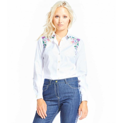 """Calina white shirt with """"Cymbalaire"""" embroidery"""