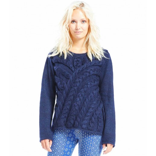 Relief blue cable sweater