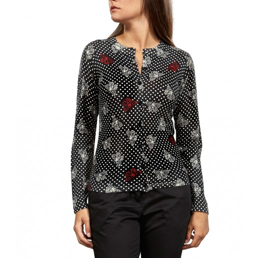 """Twin-set black silk and cashmere cardigan in """"Papillons"""" print"""
