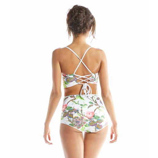 Blues two-piece swimsuit in Tea Rose print