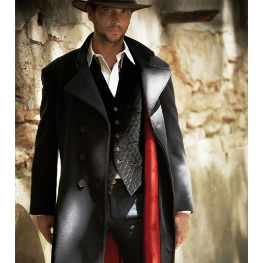 """Tramontane"" men's long navy coat"