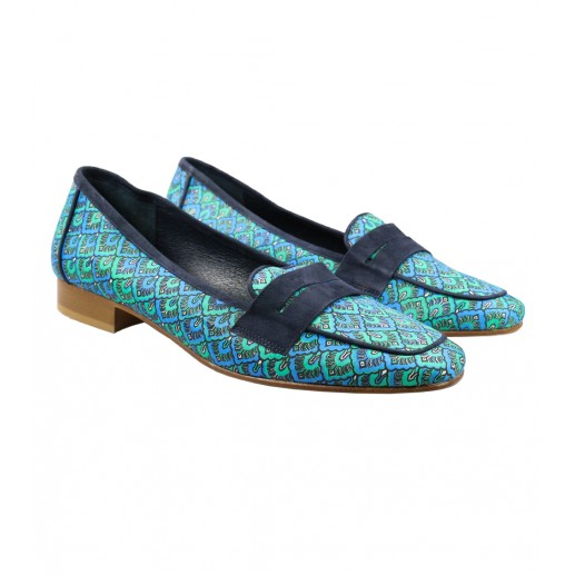 Blue Alhambra print fabric mocassins