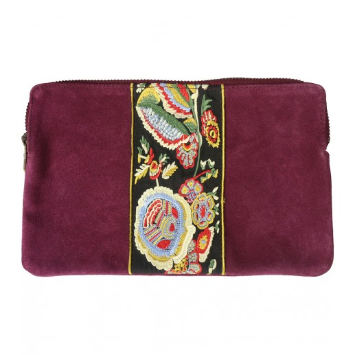 Embroidered plum leather clutch bag