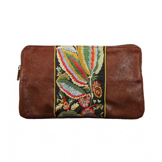 embroidered wine red glitter zip top suede clutch