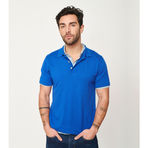 Polo  MAXIME bleu intersia noir