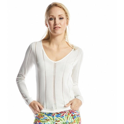 Nadine white fine-knit openwork sweater