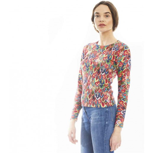 Pull TWINSET Plumes rose/turquoise
