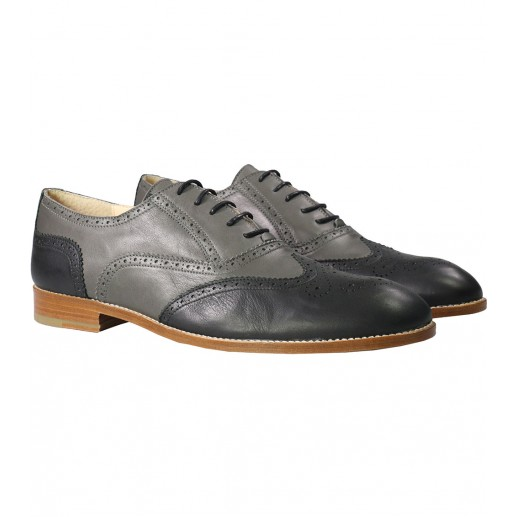 Men's two-tone grey and black Richelieu shoes