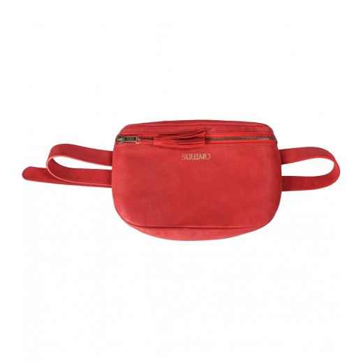 Moon red leather waist bag