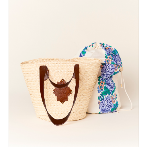 """LOULANDO straw basket with """"Chanchan"""" lining and """"Merveille"""" leather patch"""