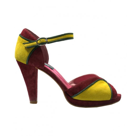 Three-tone burgundy and yellow high heel sandals