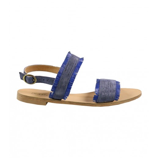 Sparkly blue fringed flat sandals