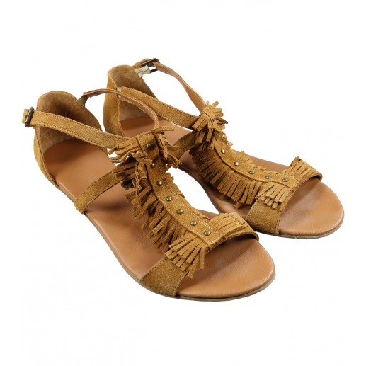 Fringed camel sandals with rivets