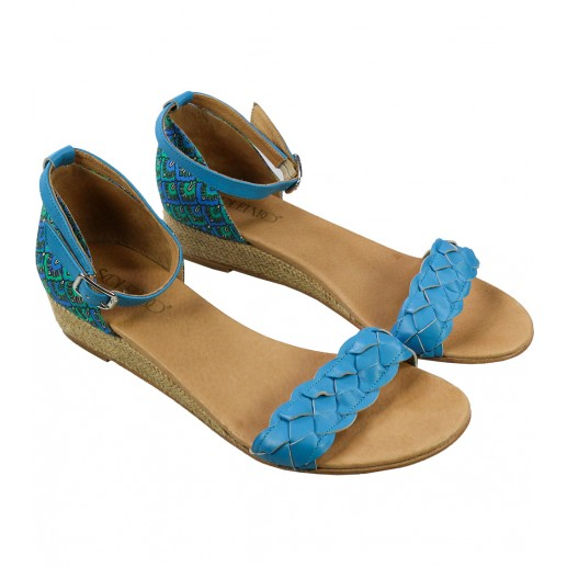 Turquoise Alhambra print flat sandals