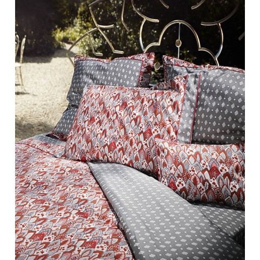 """Menton"" grey and red duvet cover"