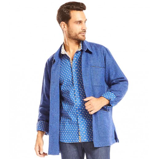 "Men's ""Carmen"" overshirt blue herringbone pattern"