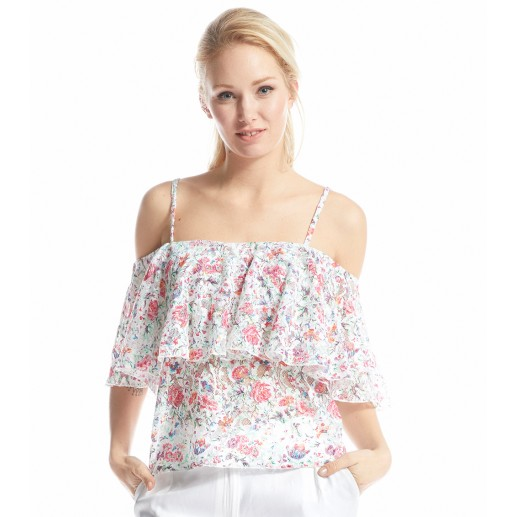Volont' white Perse print top
