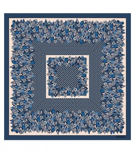 PARADISO wool and silk blue 135 x 135 cm