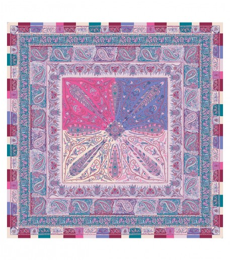 SLAVE wool and silk mauve and blue 135 x 135 cm