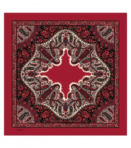 SLAVE wool and silk red 135 x 135 cm
