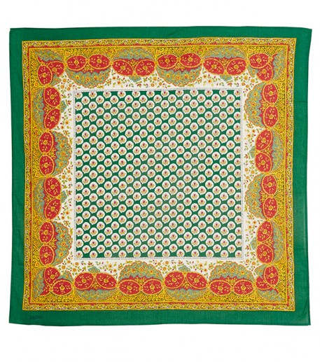 « Le Tarasconnais» green cotton scarf 80x80 cm