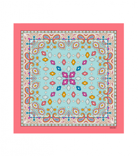 ISABO cotton scarf coral 45 x 45 cm