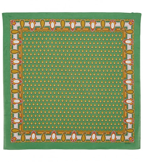 « Le Scarabée » green and gold cotton scarf
