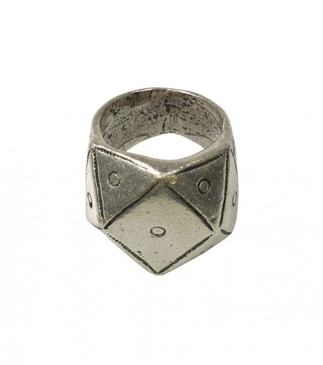 """Pyramid"" silver finish gypset ring"