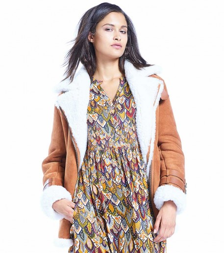 Cool light brown shearling bomber jacket