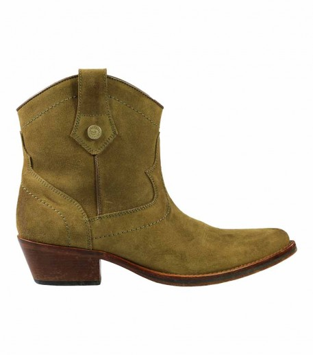 Khaki calfskin leather Ankle Boots